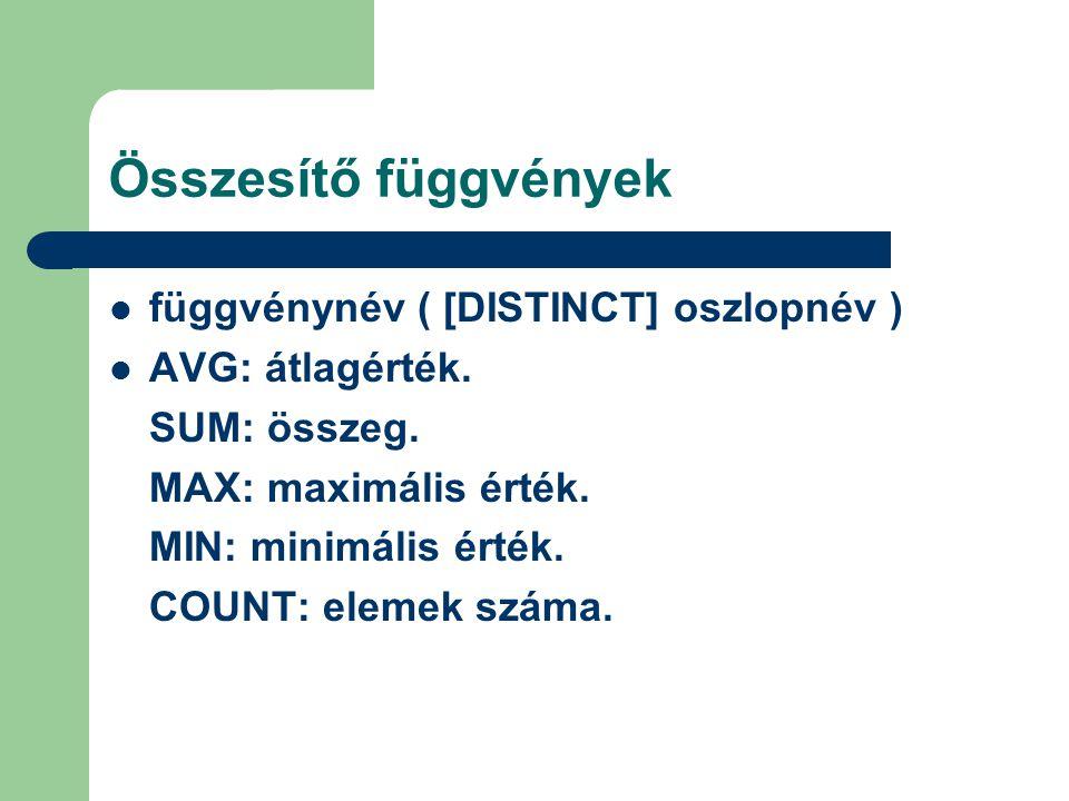 Összesítő függvények függvénynév ( [DISTINCT] oszlopnév ) AVG: átlagérték.