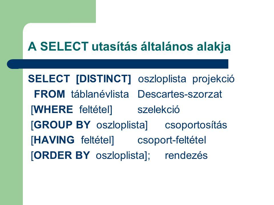 A SELECT utasítás általános alakja SELECT [DISTINCT] oszloplistaprojekció FROM táblanévlistaDescartes-szorzat [WHERE feltétel]szelekció [GROUP BY oszloplista]csoportosítás [HAVING feltétel]csoport-feltétel [ORDER BY oszloplista];rendezés