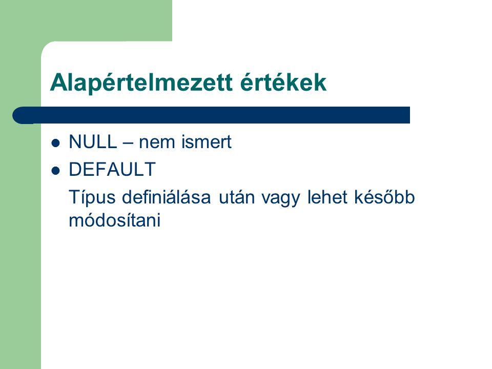 Alapértelmezett értékek NULL – nem ismert DEFAULT Típus definiálása után vagy lehet később módosítani