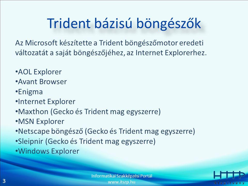 3 Informatikai Szakképzési Portál www.itszp.hu Trident bázisú böngészők Az Microsoft készítette a Trident böngészőmotor eredeti változatát a saját bön