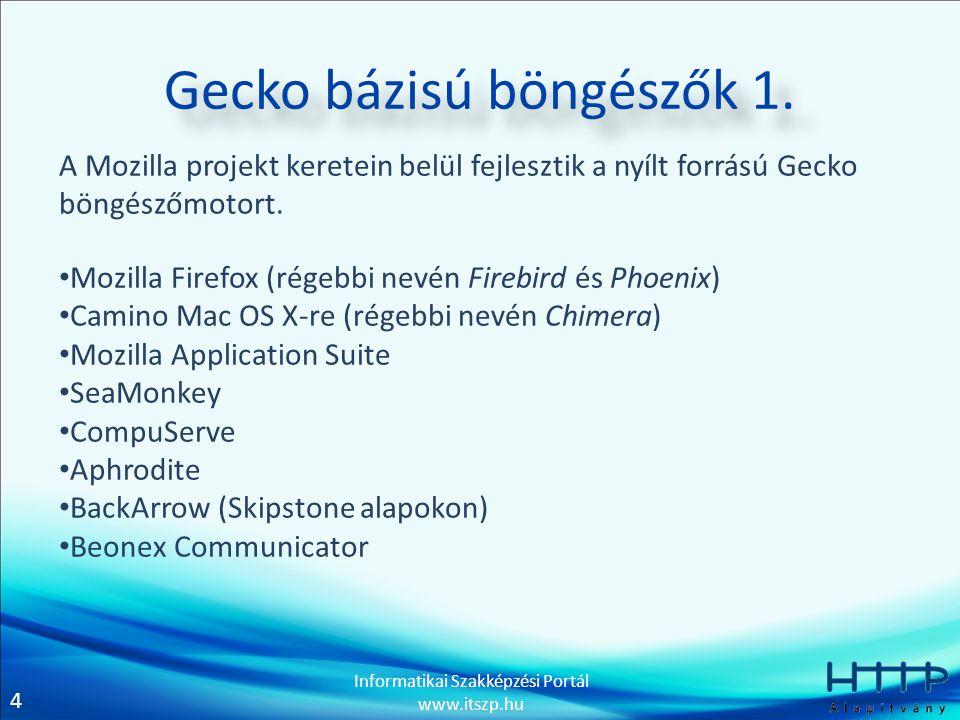 4 Informatikai Szakképzési Portál www.itszp.hu Gecko bázisú böngészők 1. A Mozilla projekt keretein belül fejlesztik a nyílt forrású Gecko böngészőmot