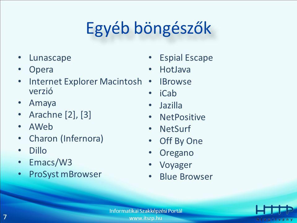 7 Informatikai Szakképzési Portál www.itszp.hu Egyéb böngészők Lunascape Opera Internet Explorer Macintosh verzió Amaya Arachne [2], [3] AWeb Charon (