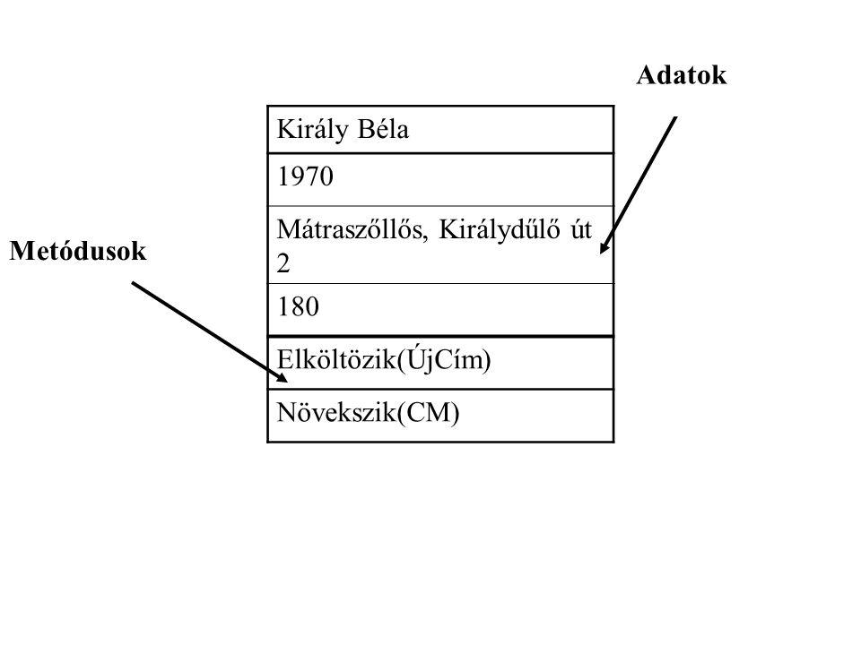 Király Béla 1970 Mátraszőllős, Királydűlő út 2 180 Elköltözik(ÚjCím) Növekszik(CM) Metódusok Adatok