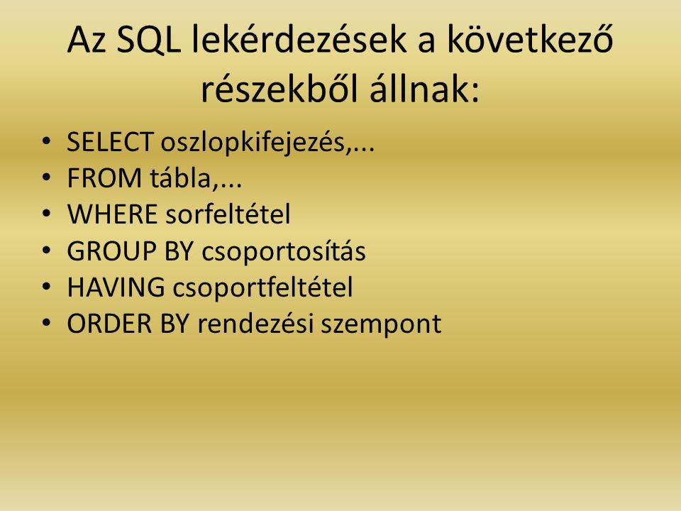 Az SQL lekérdezések a következő részekből állnak: SELECT oszlopkifejezés,... FROM tábla,... WHERE sorfeltétel GROUP BY csoportosítás HAVING csoportfel