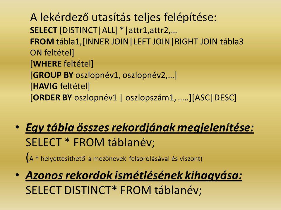 A lekérdező utasítás teljes felépítése: SELECT [DISTINCT|ALL] *|attr1,attr2,… FROM tábla1,[INNER JOIN|LEFT JOIN|RIGHT JOIN tábla3 ON feltétel] [WHERE