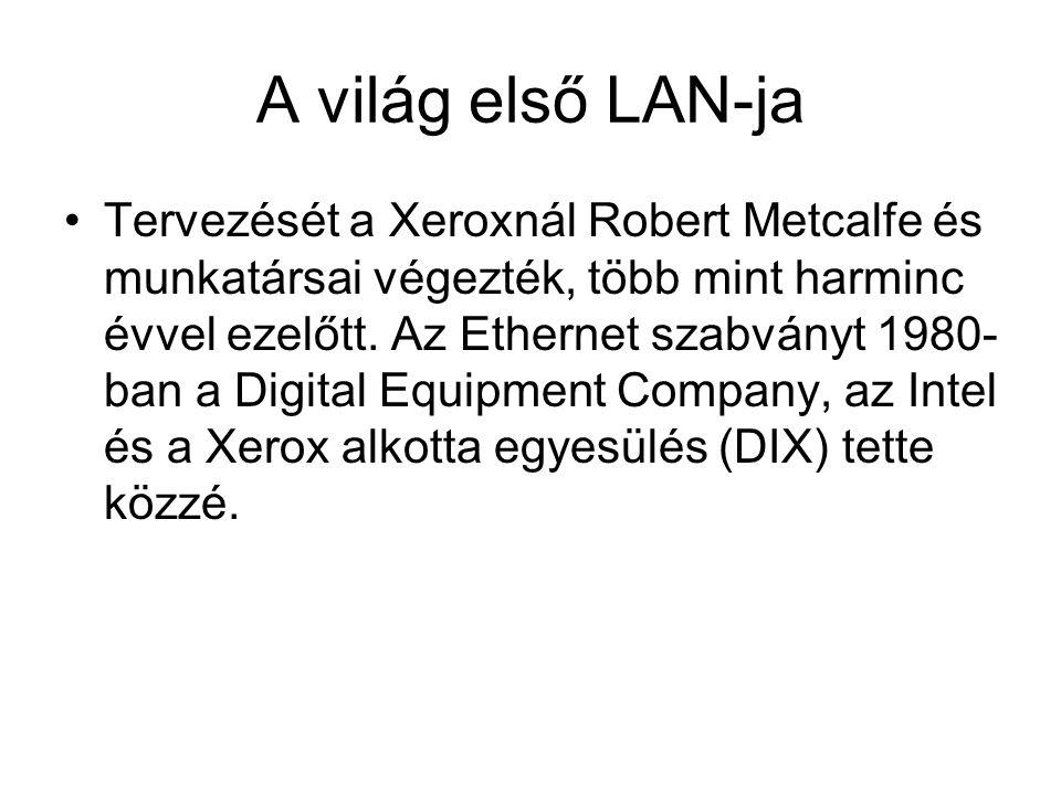 A világ első LAN-ja Tervezését a Xeroxnál Robert Metcalfe és munkatársai végezték, több mint harminc évvel ezelőtt. Az Ethernet szabványt 1980- ban a