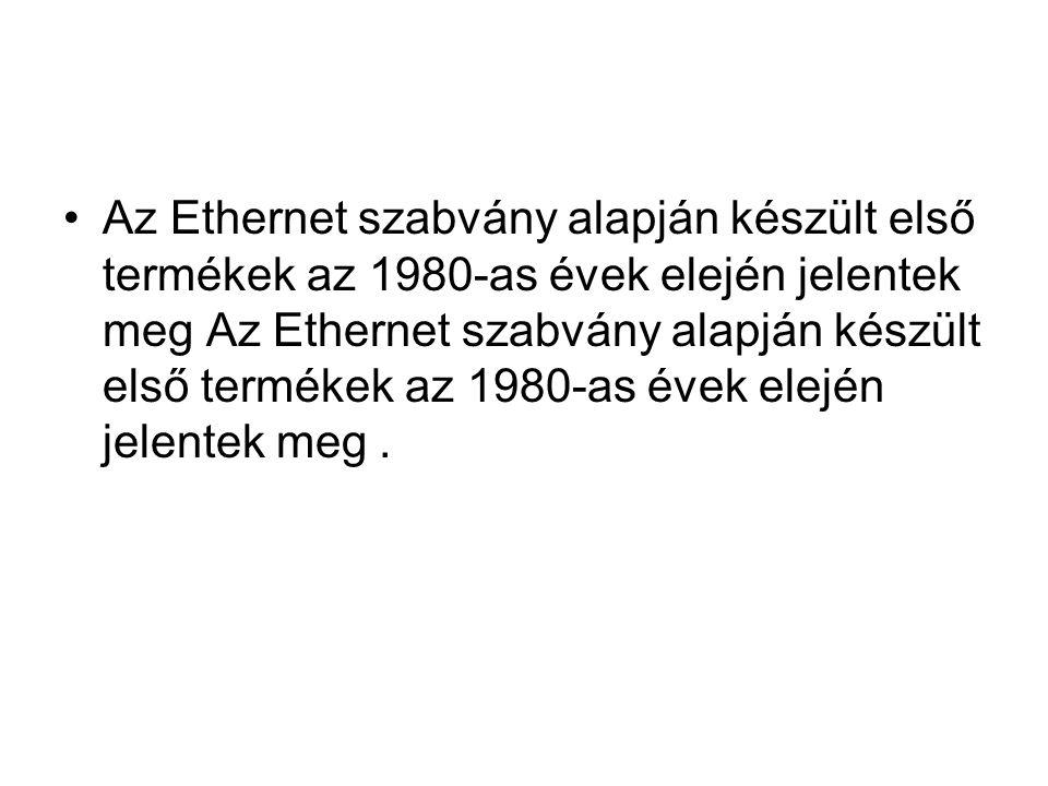 Az Ethernet szabvány alapján készült első termékek az 1980-as évek elején jelentek meg Az Ethernet szabvány alapján készült első termékek az 1980-as é