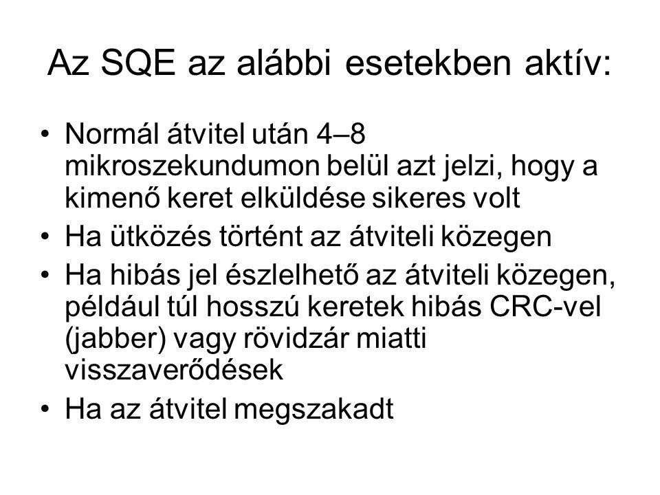 Az SQE az alábbi esetekben aktív: Normál átvitel után 4–8 mikroszekundumon belül azt jelzi, hogy a kimenő keret elküldése sikeres volt Ha ütközés tört