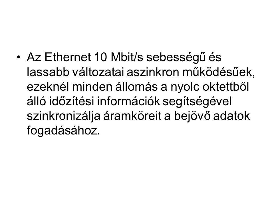 Az Ethernet 10 Mbit/s sebességű és lassabb változatai aszinkron működésűek, ezeknél minden állomás a nyolc oktettből álló időzítési információk segíts