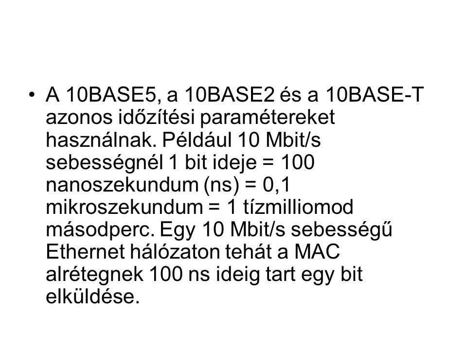 A 10BASE5, a 10BASE2 és a 10BASE-T azonos időzítési paramétereket használnak. Például 10 Mbit/s sebességnél 1 bit ideje = 100 nanoszekundum (ns) = 0,1