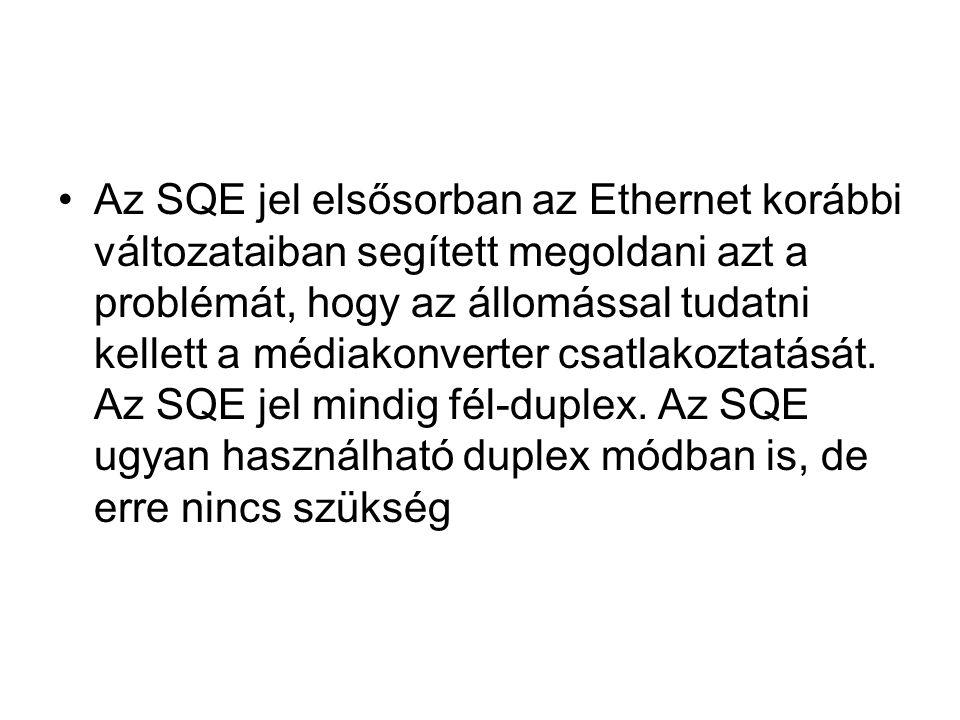 Az SQE jel elsősorban az Ethernet korábbi változataiban segített megoldani azt a problémát, hogy az állomással tudatni kellett a médiakonverter csatla