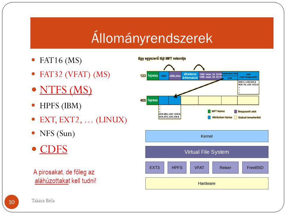 Állományrendszerek FAT16 (MS) FAT32 (VFAT) (MS) NTFS (MS) HPFS (IBM) EXT, EXT2, … (LINUX) NFS (Sun) CDFS A pirosakat, de főleg az aláhúzottakat kell tudni.