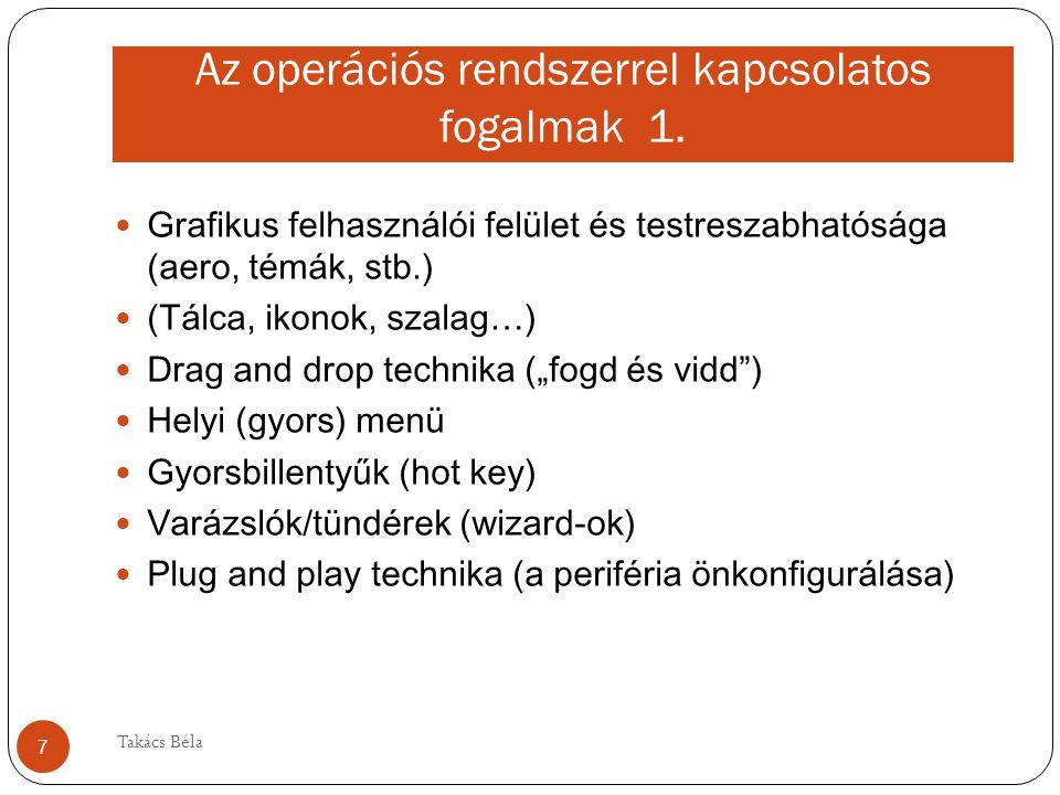 Az operációs rendszerrel kapcsolatos fogalmak 1. Grafikus felhasználói felület és testreszabhatósága (aero, témák, stb.) (Tálca, ikonok, szalag…) Drag
