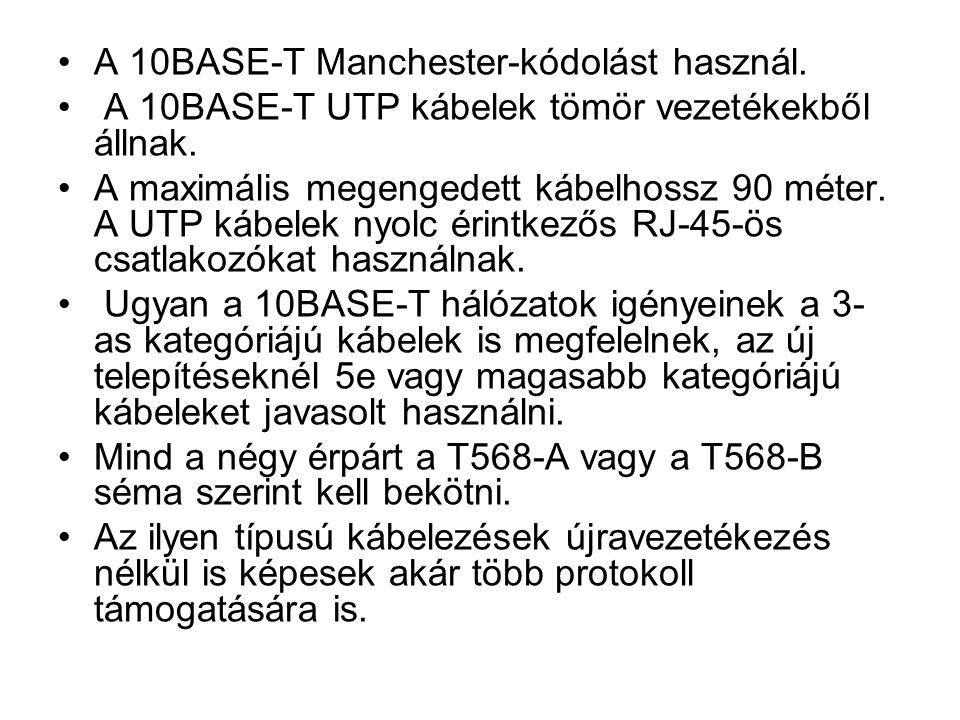 A 10BASE-T Manchester-kódolást használ. A 10BASE-T UTP kábelek tömör vezetékekből állnak.