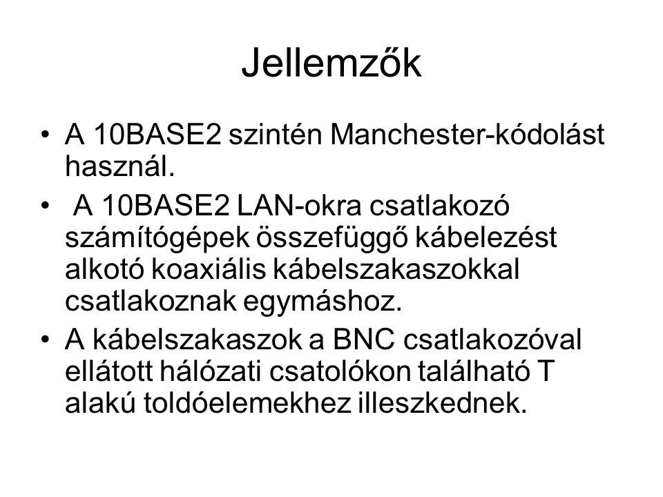 Jellemzők A 10BASE2 szintén Manchester-kódolást használ.