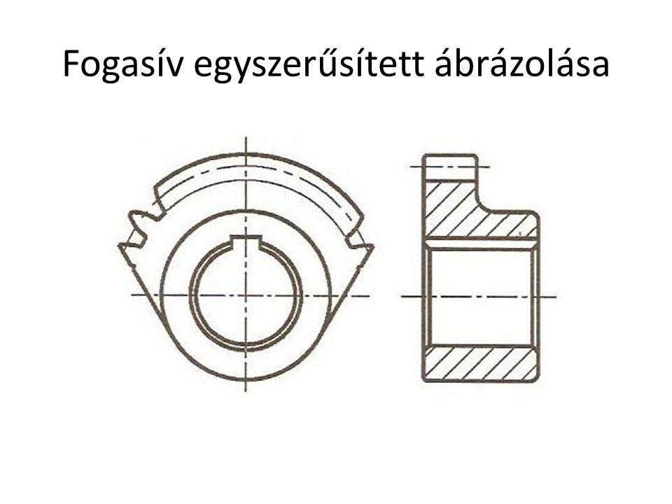 Fogasív egyszerűsített ábrázolása