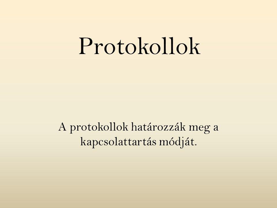 A protokollok határozzák meg a kapcsolattartás módját. Protokollok