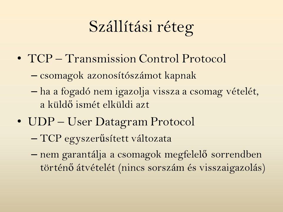 Hálózati réteg F ő protokoll: IP (Internet Protocol) – feladata a csomagok eljuttatása a a megfelel ő hálózatba – hálózattól független, egységes címzés: négybájtos azonosító, pl.