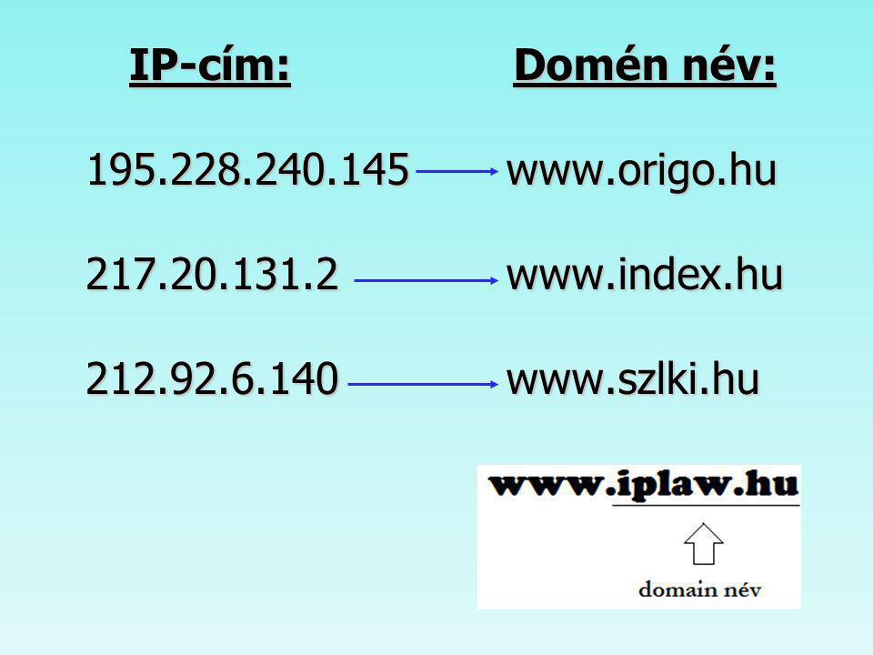 Domain nevek értelmezése A számozott cím kissé megjegyezhetetlen lenne számunkra, ezért minden egyes gépnek adományozható egy vagy több logikai cím/név.