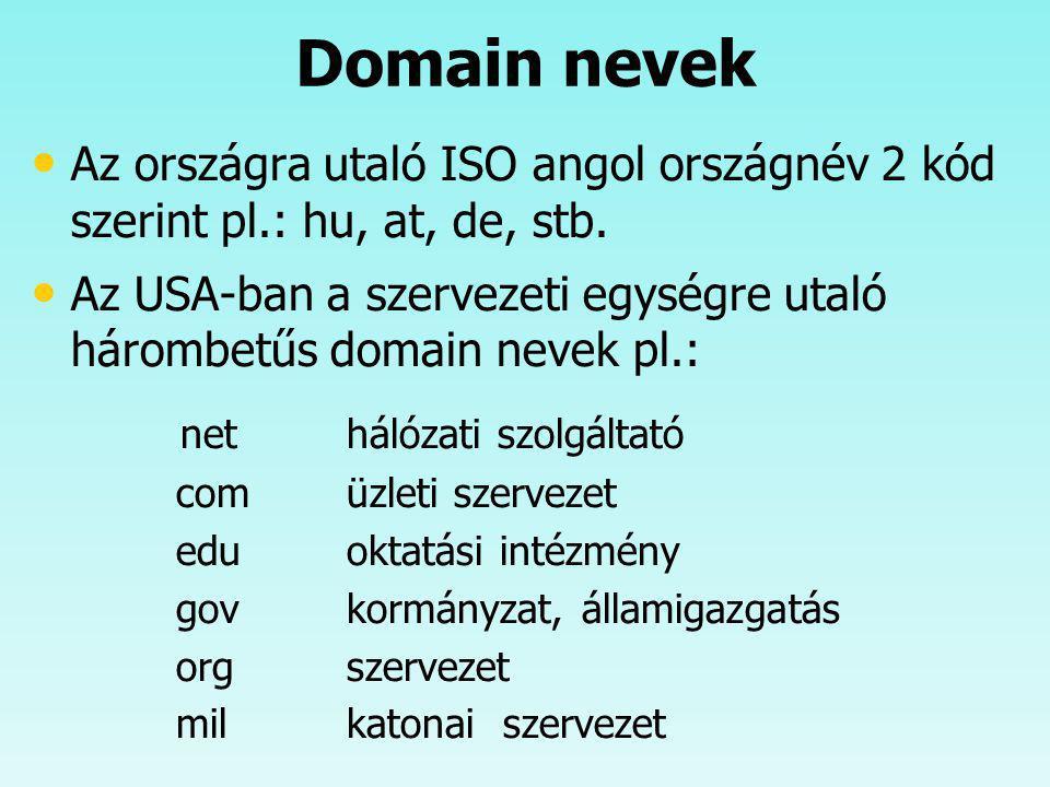 Domain nevek Az országra utaló ISO angol országnév 2 kód szerint pl.: hu, at, de, stb. Az USA-ban a szervezeti egységre utaló hárombetűs domain nevek
