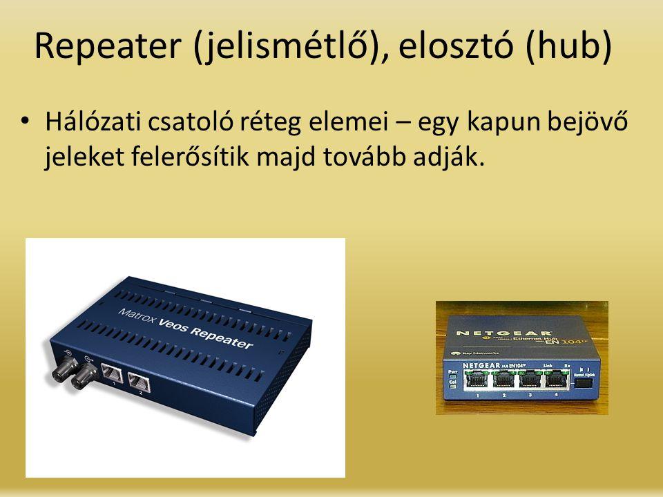 Repeater (jelismétlő), elosztó (hub) Hálózati csatoló réteg elemei – egy kapun bejövő jeleket felerősítik majd tovább adják.