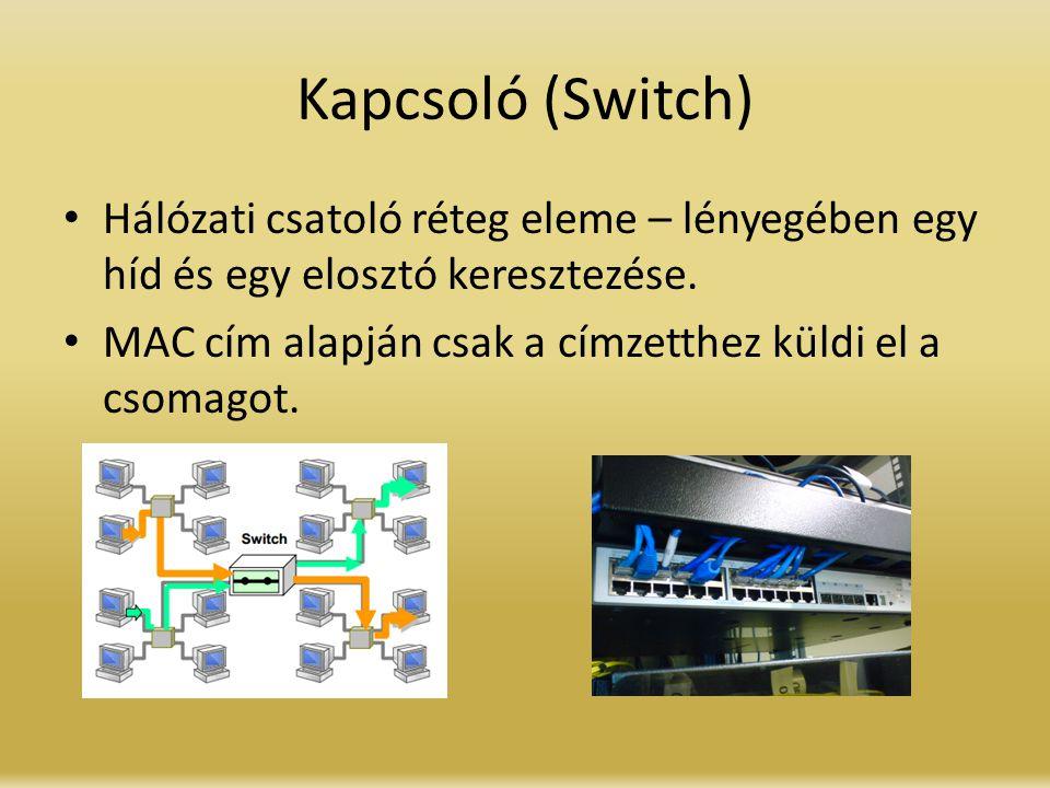 Kapcsoló (Switch) Hálózati csatoló réteg eleme – lényegében egy híd és egy elosztó keresztezése. MAC cím alapján csak a címzetthez küldi el a csomagot