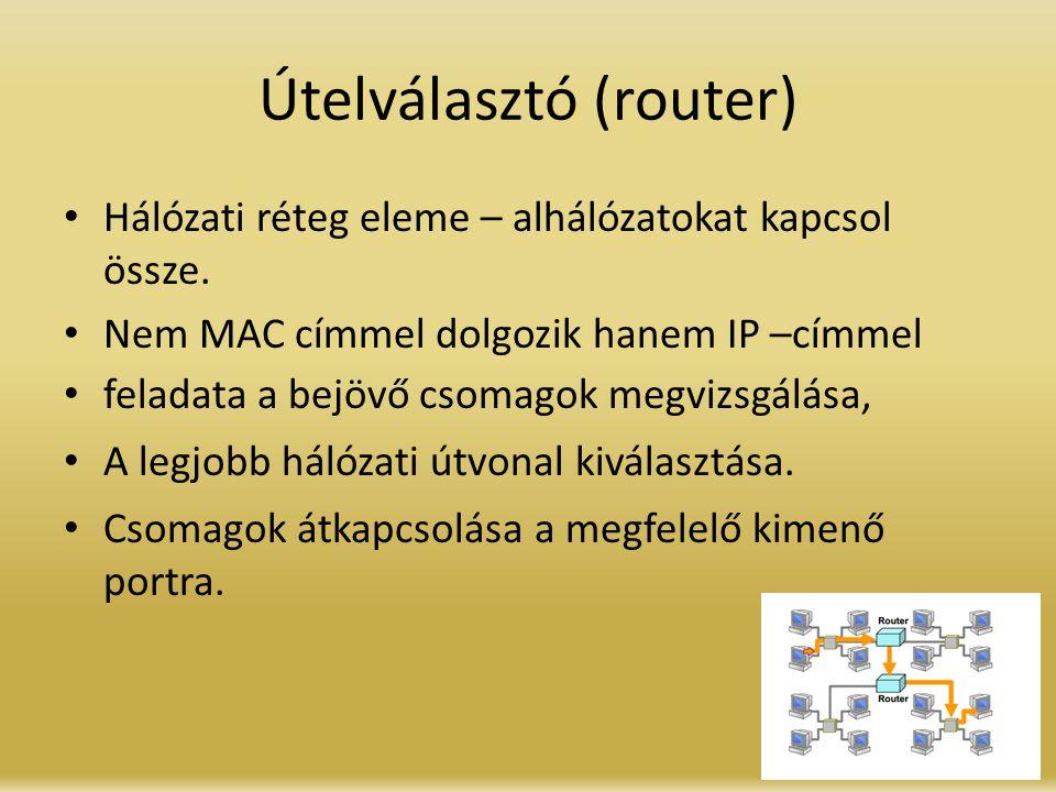 Útelválasztó (router) Hálózati réteg eleme – alhálózatokat kapcsol össze. Nem MAC címmel dolgozik hanem IP –címmel feladata a bejövő csomagok megvizsg