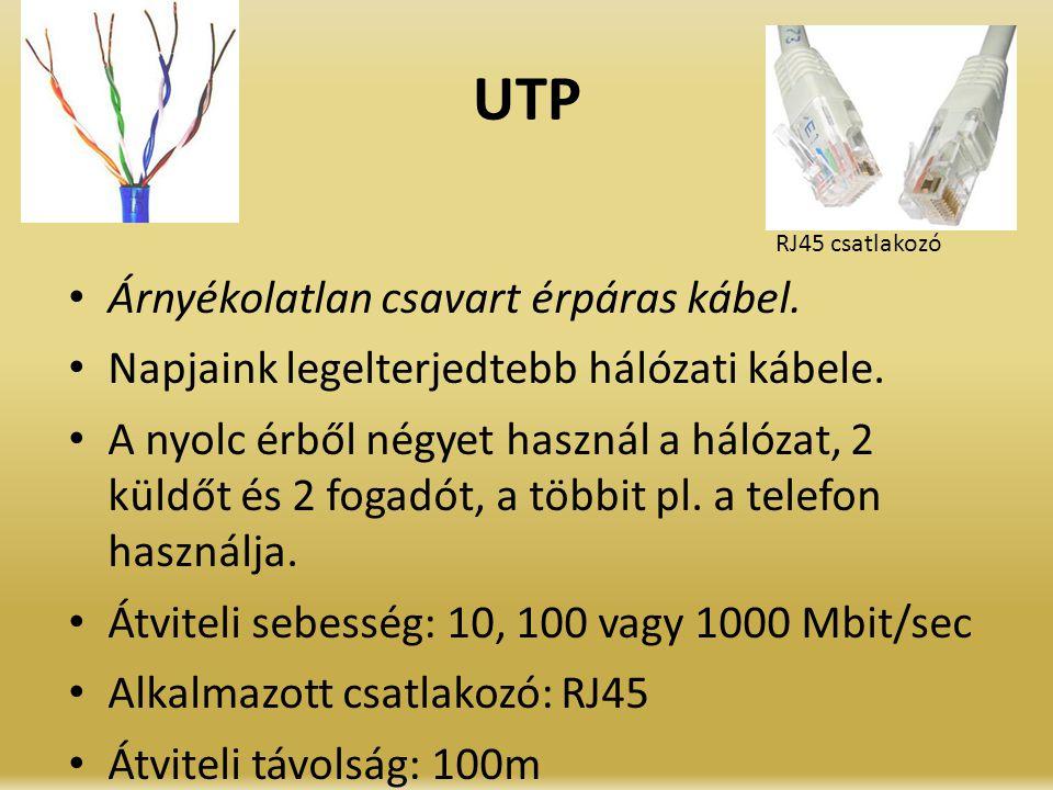 UTP Árnyékolatlan csavart érpáras kábel. Napjaink legelterjedtebb hálózati kábele. A nyolc érből négyet használ a hálózat, 2 küldőt és 2 fogadót, a tö
