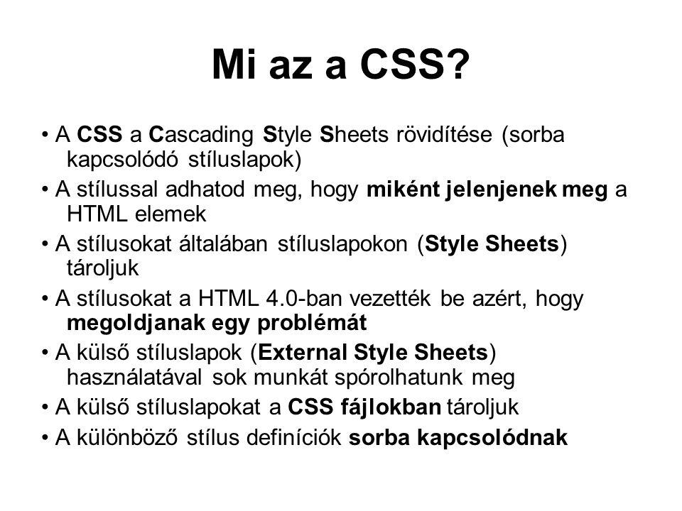 Mi az a CSS.