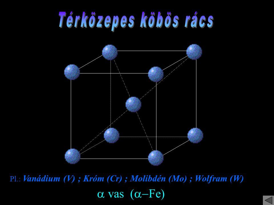 Pl.: Vanádium (V) ; Króm (Cr) ; Molibdén (Mo) ; Wolfram (W)  vas (  Fe)