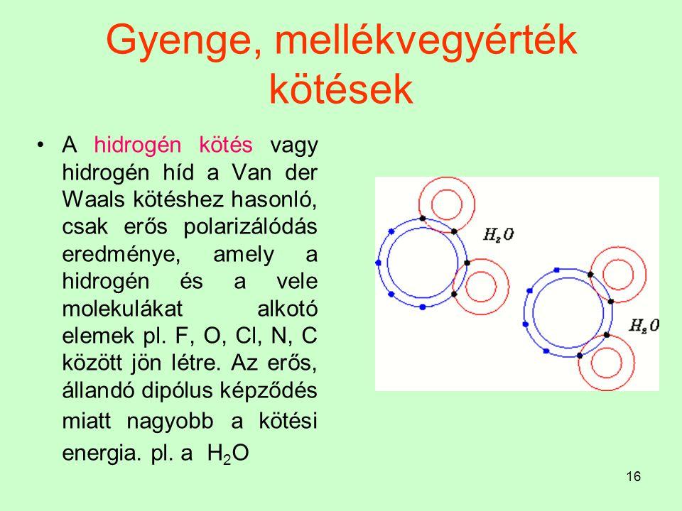 16 Gyenge, mellékvegyérték kötések A hidrogén kötés vagy hidrogén híd a Van der Waals kötéshez hasonló, csak erős polarizálódás eredménye, amely a hid