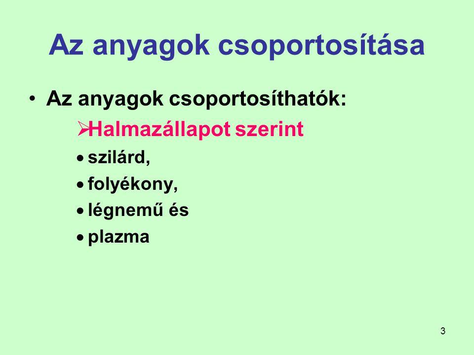 4 Az anyagok csoportosítása Eredet szerint  szerves anyagok, polimerek  természetes eredetűek pl.