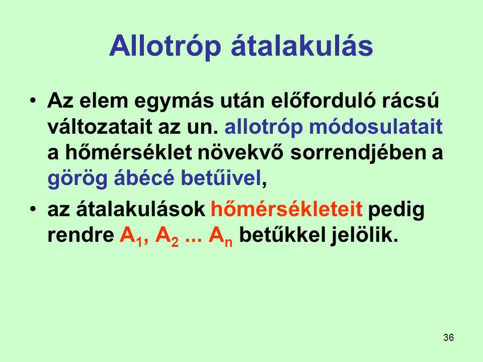36 Allotróp átalakulás Az elem egymás után előforduló rácsú változatait az un. allotróp módosulatait a hőmérséklet növekvő sorrendjében a görög ábécé