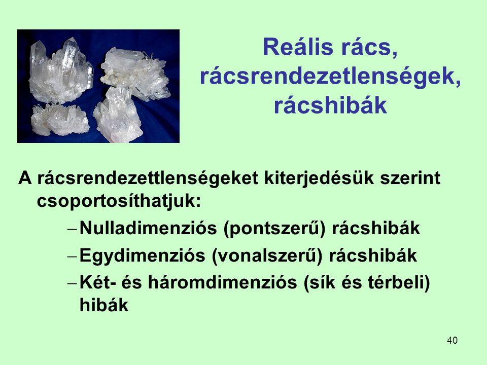 40 Reális rács, rácsrendezetlenségek, rácshibák A rácsrendezettlenségeket kiterjedésük szerint csoportosíthatjuk:  Nulladimenziós (pontszerű) rácshib