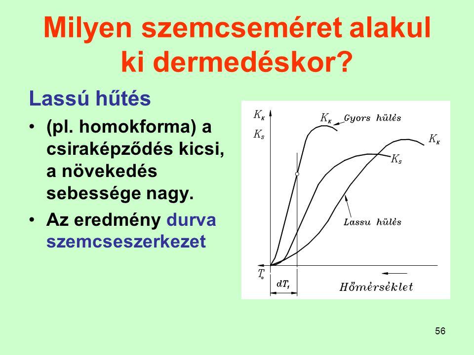 56 Milyen szemcseméret alakul ki dermedéskor? Lassú hűtés (pl. homokforma) a csiraképződés kicsi, a növekedés sebessége nagy. Az eredmény durva szemcs