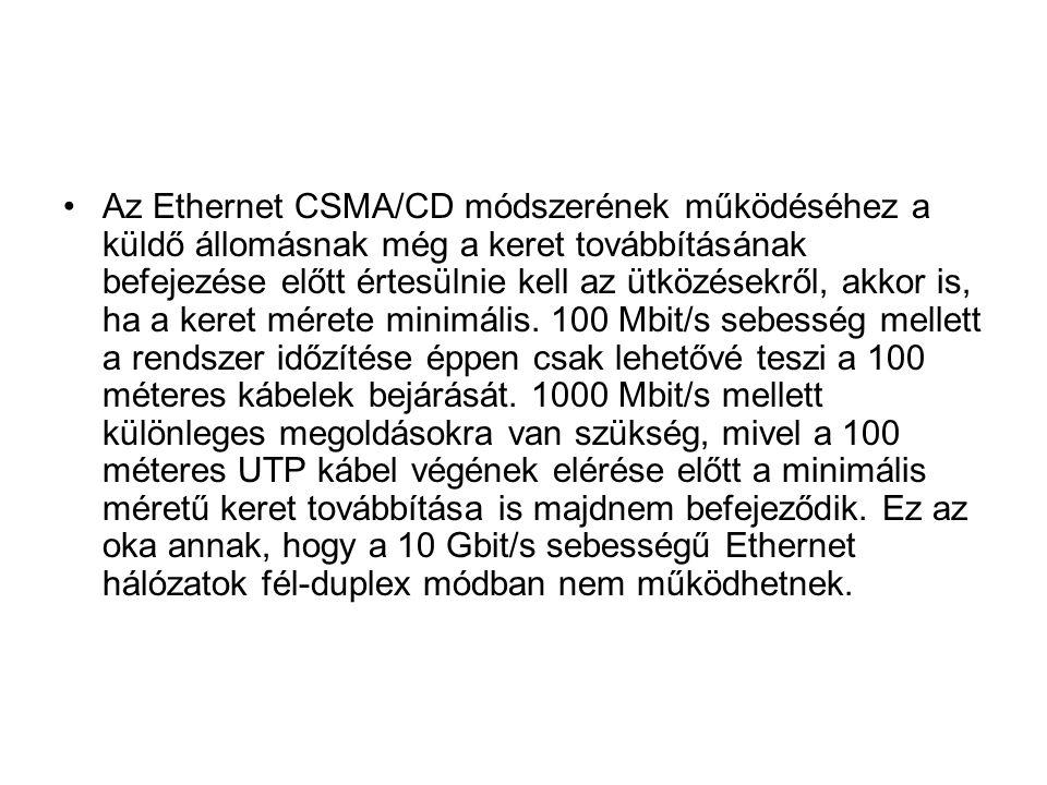 Az Ethernet CSMA/CD módszerének működéséhez a küldő állomásnak még a keret továbbításának befejezése előtt értesülnie kell az ütközésekről, akkor is,