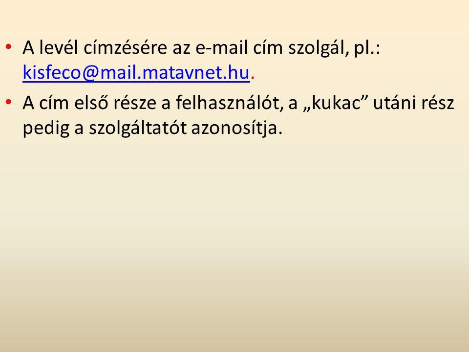 """A levél címzésére az e-mail cím szolgál, pl.: kisfeco@mail.matavnet.hu. kisfeco@mail.matavnet.hu A cím első része a felhasználót, a """"kukac"""" utáni rész"""