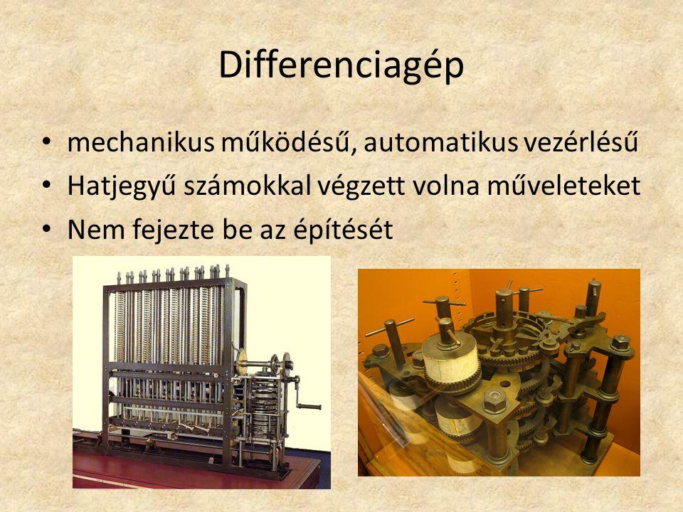 Differenciagép mechanikus működésű, automatikus vezérlésű Hatjegyű számokkal végzett volna műveleteket Nem fejezte be az építését