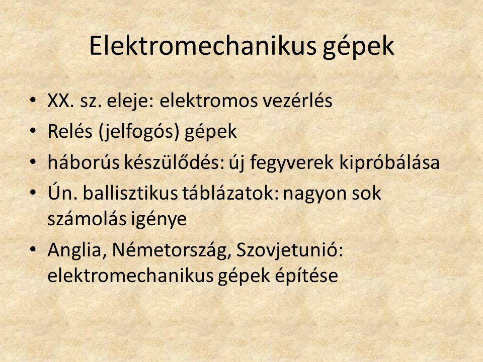 Elektromechanikus gépek XX.sz.