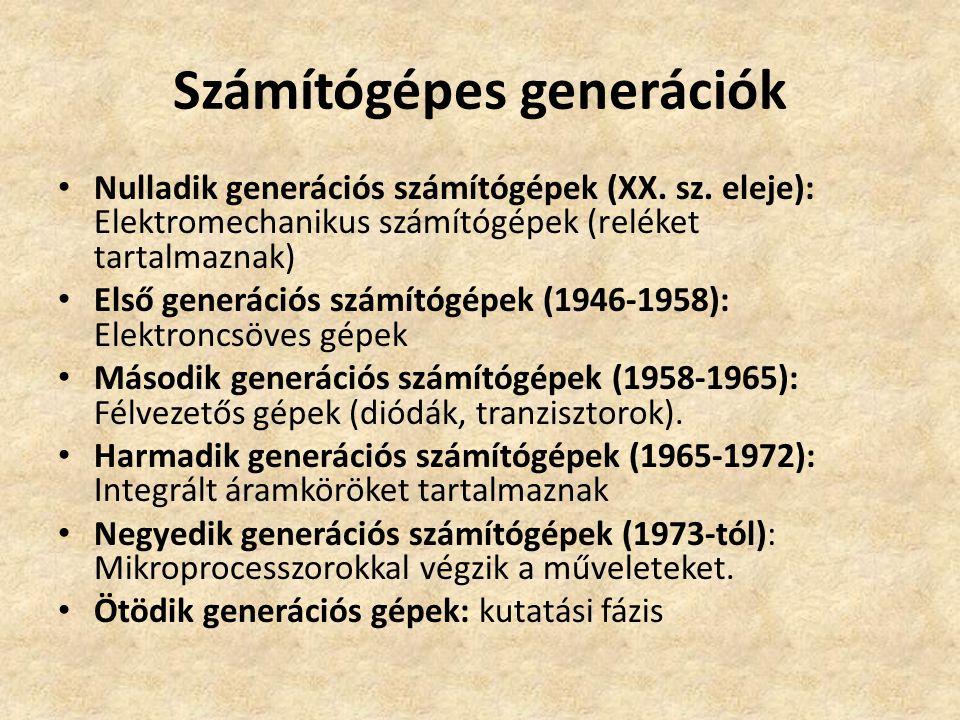 Számítógépes generációk Nulladik generációs számítógépek (XX.