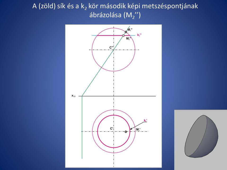 A (zöld) sík és a k 2 kör második képi metszéspontjának ábrázolása (M 2 '')
