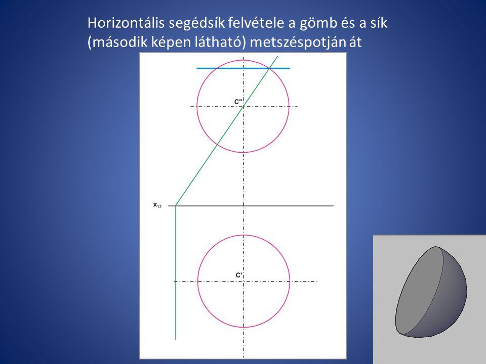 Horizontális segédsík felvétele a gömb és a sík (második képen látható) metszéspotján át