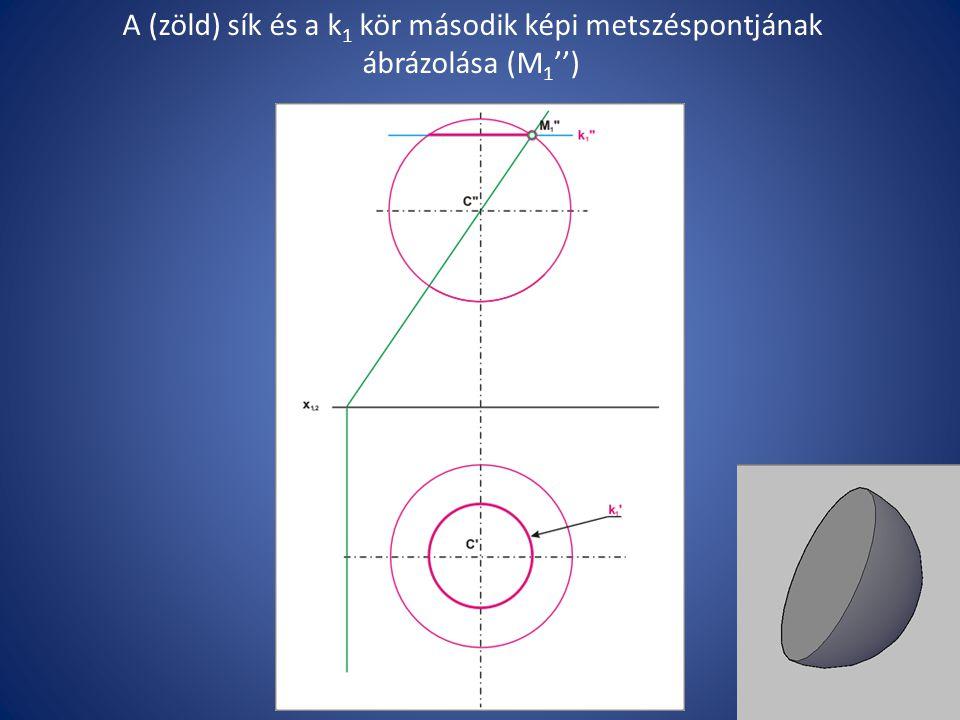 A (zöld) sík és a k 1 kör második képi metszéspontjának ábrázolása (M 1 '')