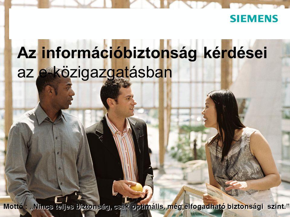 Veress András, Minőségfejlesztési koordinátor Siemens IT Solutions and Services PSE 28.07.20142 Tartalomjegyzék  Alapfogalmak tisztázása  Kialakulás és fejlődés áttekintése  Szabványosítási környezet  Jogszabályi környezet  Információbiztonsági Irányítási Rendszer (ISMS)  Dokumentálás  Információs vagyon felmérése  Kockázatkezelés  Terület és berendezések védelme  Elektronikus és nem elektronikus adatok kezelése  Hozzáférés-ellenőrzés  Kommunikáció  Üzemeltetés  Szolgáltatások folytonosságának biztosítása  Információtechnológia megoldások  Siemens megoldások  Összefoglalás  Átgondolandó tanácsok