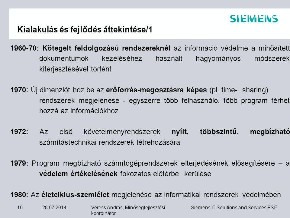 Veress András, Minőségfejlesztési koordinátor Siemens IT Solutions and Services PSE 28.07.201410 Kialakulás és fejlődés áttekintése/1 1960-70: Kötegel