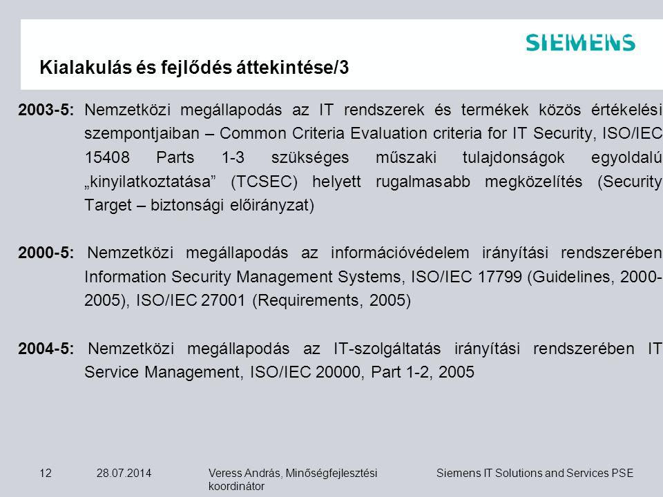 Veress András, Minőségfejlesztési koordinátor Siemens IT Solutions and Services PSE 28.07.201412 Kialakulás és fejlődés áttekintése/3 2003-5: Nemzetkö