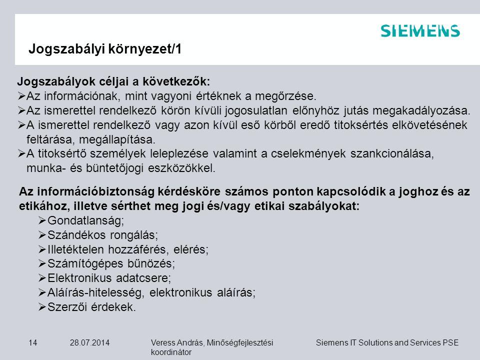 Veress András, Minőségfejlesztési koordinátor Siemens IT Solutions and Services PSE 28.07.201414 Jogszabályok céljai a következők:  Az információnak,