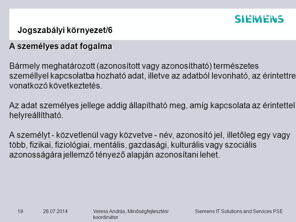 Veress András, Minőségfejlesztési koordinátor Siemens IT Solutions and Services PSE 28.07.201419 Jogszabályi környezet/6 A személyes adat fogalma Bárm