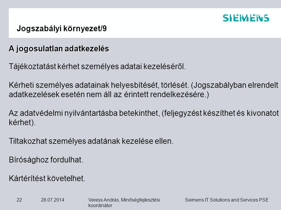 Veress András, Minőségfejlesztési koordinátor Siemens IT Solutions and Services PSE 28.07.201422 Jogszabályi környezet/9 A jogosulatlan adatkezelés Tá
