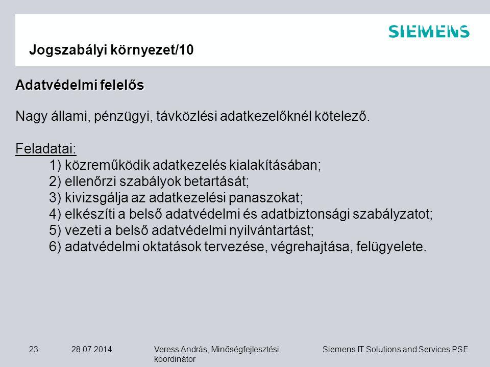 Veress András, Minőségfejlesztési koordinátor Siemens IT Solutions and Services PSE 28.07.201423 Jogszabályi környezet/10 Adatvédelmi felelős Nagy áll